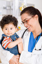 Pediatrician and patient Stock Photo