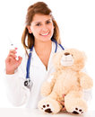 Pediatrician with a vaccine Stock Photography