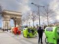 Pedicabs near Arc de Triomphe Paris france