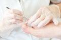 Pedicure in beauty salon Royalty Free Stock Photo