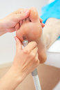 Pedicure female foot in a beauty salon Stock Photography