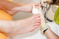 A pedicure foot in modern beauty salon Royalty Free Stock Image