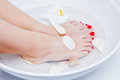 Pedicure foot treatment with water Stock Photo