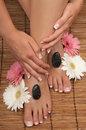 Pedicure manicure spa pebbles Stock Images