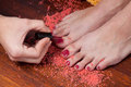 Pedicure process Royalty Free Stock Image