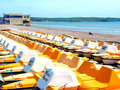 Pedlos weymouth early morning and rows of wait to be taken for the day ahead at dorset england uk Stock Photography