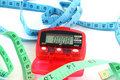 Pedometer with tape measures Royalty Free Stock Image