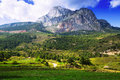 Pedra forca white rocky mountain in pyrenees catalonia Stock Images
