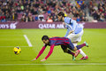 Pedro in action rodriguez of fcb at spanish league match between fc barcelona and malaga cf final score on january barcelona Royalty Free Stock Images