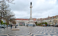 Pedro iv square lisbon portugal may the view on the column of and the national theatre of lisbon located on the tourists Stock Photos