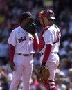 Pedro Martinez and Jason Varitek meet at mound. Royalty Free Stock Photo