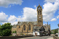 Peebles old parish church from river tweed bridge view along b road across over to of scottish borders scotland Royalty Free Stock Image
