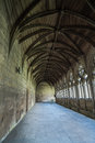 Peekaboo peeping round a corner of the cloister at lincoln cathedral england Stock Photo