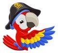 Peeking Cartoon Pirate Parrot