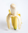 Peeled banana a good ol staring straight at you Royalty Free Stock Images