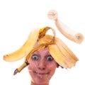 Peeled banana on a pane Royalty Free Stock Photo
