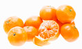 Peeled mandarin tangerine orange fruit isolated on white backgro tasty sweet background Royalty Free Stock Photo