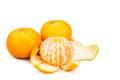 Peeled sweet and juicy mandarin oranges on white background Royalty Free Stock Photo