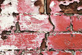 Peeling old painted brick wall Royalty Free Stock Images
