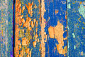 Peeling paint on old weathered blue and orange wood - textured background Royalty Free Stock Photo