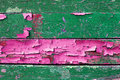 Peeling paint on old weathered wood with peeling paint of green and pink colors- textured wooden background Royalty Free Stock Photo