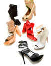 Peep toe booties stilettos fashion still life composition white background Stock Image