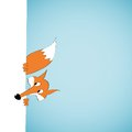 Peeping cartoon fox vector illustration Stock Photography