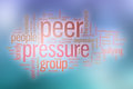 Peer pressure word cloud with abstract background concept Royalty Free Stock Image