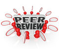 Peer review people comments evaluation assessment words surrounded by and speech bubbles offering or from colleagues and co Stock Image