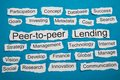 Peer to peer and lending text on piece of torn paper salient among other related keywords Royalty Free Stock Images