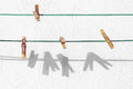 Peg for clothes hanging on rope Royalty Free Stock Photography