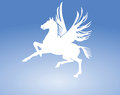 Pegasus horse sign illustration of flying in blue sky Royalty Free Stock Photography