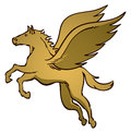 Pegasus logo a golden flying horse icon Royalty Free Stock Photos