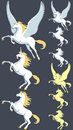 Pegasus unicorn stallion and clip art silhouette versions and pure white versions are also included no transparency and gradients Stock Photo