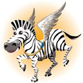 The pegasus zebra funny illustration with joyful tries on toy wings of drawn in cartoon style Royalty Free Stock Images