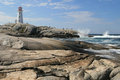Peggy'cove lighthouse Nova scotia Canada Royalty Free Stock Images