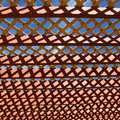 Pegola roof close up shot of pergola against blue sky Royalty Free Stock Image