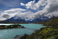 Pehoe lake landscape and paine mountains range Stock Photos