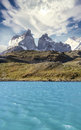 Pehoe mountain lake and Los Cuernos, Chile. Royalty Free Stock Photo