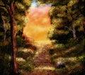 Peinture «de scène de crépuscule d'automne» Images stock