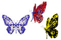 Peinture rouge de noir bleu faite ensemble de papillon Photo stock