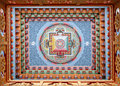 Peinture tibétaine de mandala sur le monestery Photo stock