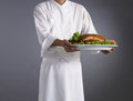 Peking duck background chef with food Stock Photos