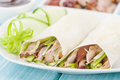 Peking duck chinese roast crispy cucumber and spring onions wrapped in pancakes served with hoisin sauce Royalty Free Stock Photo