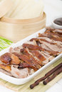 Peking duck chinese roast crispy served with hoisin sauce pancakes cucumber and spring onions Stock Images