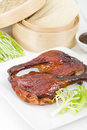 Peking duck chinese roast crispy served with hoisin sauce pancakes cucumber and spring onions Royalty Free Stock Photos