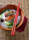 Peking Duck with Rice Noodles Soup Bowl Stock Images