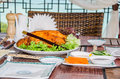 Peking duck served on a table in a restaurant Royalty Free Stock Image