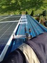 Pelee island solar southernmost system in canada kw installing the peak ground wires Royalty Free Stock Photos