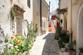 Pelekas village corfu the small on greece Royalty Free Stock Image